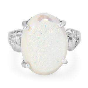 anello cocktail con quarzo glitter perlato